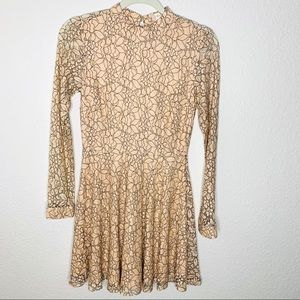 Alter'd State beige Lace Long Sleeve Dress Small